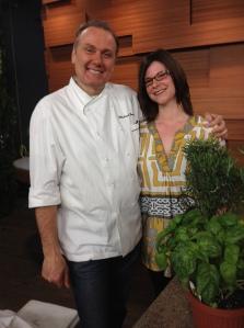 Chef Bonacini and I...just hangin'  with some herbs.
