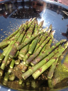 The asparagus before it hit the grill, covered in steak rub.